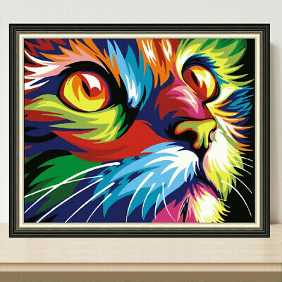 $ CDN10.63 • Buy Full Drill 5D Diamond Painting Cross Stitch Kits Embroidery Mural Colorful Cat