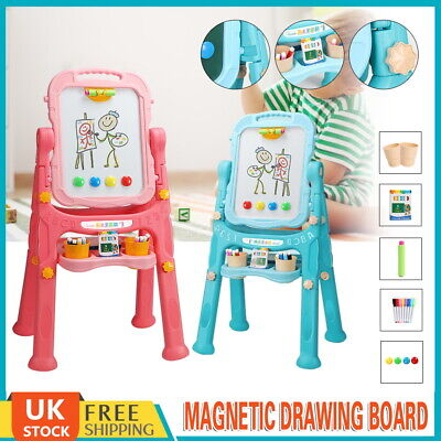 £22.79 • Buy Kids Folding Double Sided Magnetic Drawing Board Easel With Colour Chalk Eraser