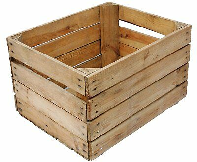 Large Rustic Wooden Slatted Fruit Apple Storage Welly Wine Crate Vintage Box • 17.95£