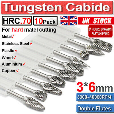 £10.58 • Buy 10Pcs Rotary Burr Bit Tungsten Carbide Point Die Grinder Shank Carving Set Tools
