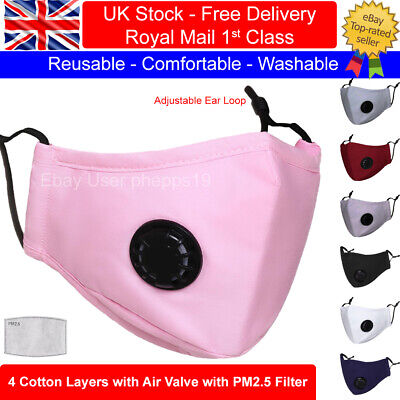 Adult Cotton Face Masks Reusable Washable With PM2.5 Filter Pocket And Air Valve • 4.49£