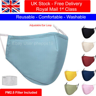 Cotton Face Mask Washable Reusable Breathable With PM2.5 Filter &  Filter Pocket • 3.99£