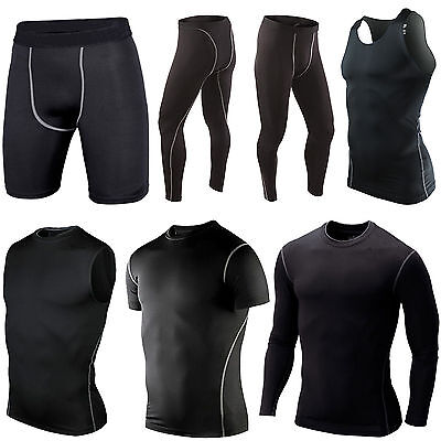 Men Gym Skinny Warm Compression Base Layer T-Shirts Vest Fitness Leggings Shorts • 7.69£