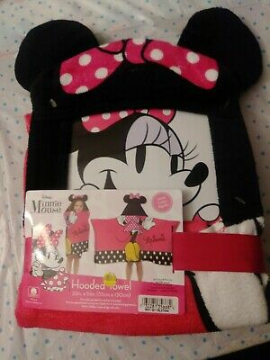 NEW Disney MINNIE MOUSE Hooded Towel Bath Wrap Beach Pool Vacation 22  X 51   • 14.81£