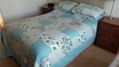Stunning Forever England King Size Quilt And Pillow Shams Grey Teal Ochre • 29.95£