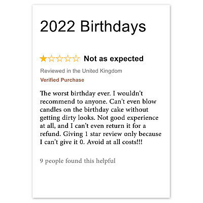 FUNNY BIRTHDAY CARD Rude Adult For Male Female - 2020 Birthdays Review Lockdown • 2.59£