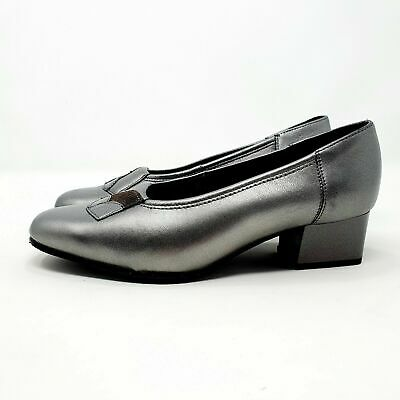 Equity Pewter Silver / Grey Leather Court Shoes Smart Low Heel UK 3.5 EU 36.5 • 12£