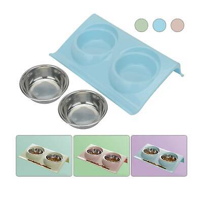 L Stainless Double Food Water Pet Feeding Bowl Puppy Cat Dog Kitten Dish • 5.29£