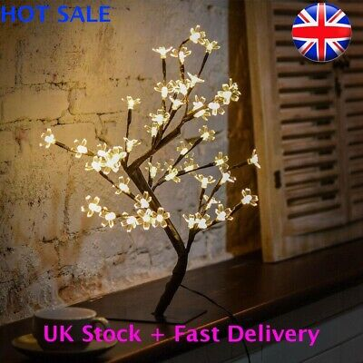 NEW LED Cherry Blossom Tree Bonsai Light Home Decor Bedside Lamp Party Gift UK • 6.99£
