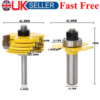 £23.99 • Buy 2Pcs Slot Cutter Router Bit 1/2'' & 1/4'' Shank Adjustable Woodworking Tool New