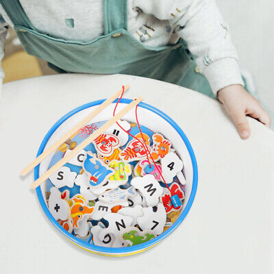 Toddler Wooden Magnetic Fishing Rods Game Toy For 2 3 4 5 Year Old Kids Gift • 7.89£