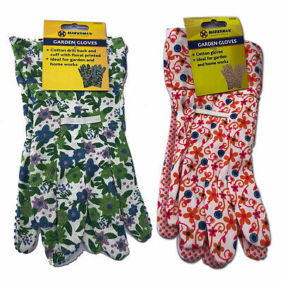Ladies Womens Floral Cotton Garden Gloves Outdoor Home Light Duty Washable Plant • 2.30£