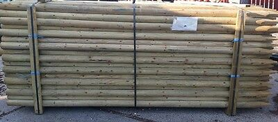 6 X 2.4m (8ft) X 60mm MACHINED ROUND & POINTED FENCE POSTS / TREE STAKES • 42.50£