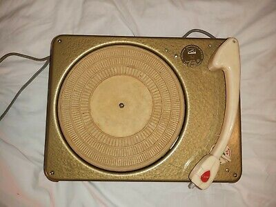 HMV Record Player Vintage C. 1957 Marconi R-70 Portable Suitcase Lunchbox Green • 50£