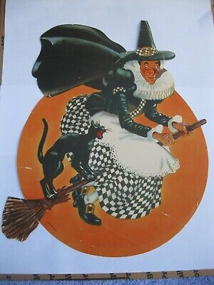 $ CDN12.55 • Buy Vintage Halloween Litho Co. Paper Witch On A Broom With A Black Cat Rare