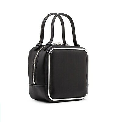 AU570 • Buy Alexander Wang Black Calf Leather Top Handle Halo Bag With Silver Hardware