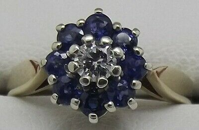 AU474 • Buy Solid 9ct Yellow Gold Natural Diamond & Blue Stone Engagement/dress Ring Size J