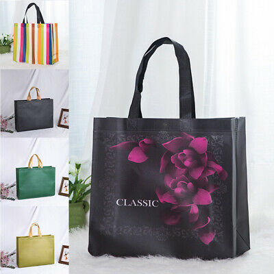 Reusable Shopping Bag Non-Woven Foldable Grocery Bag Waterproof Tote Casual • 2.09£