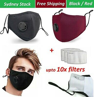 AU7.50 • Buy Washable Reusable Face Mask 100% Cotton 5 Layers With 4 X PM 2.5 Filters - Black