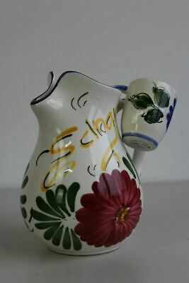 Vintage Spanish Floral Pottery Water Jug & 2 Cups • 35£