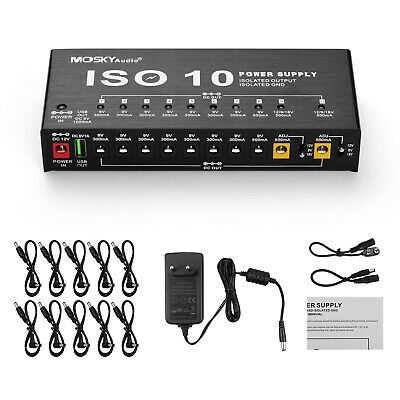 $ CDN67.99 • Buy MOSKY ISO-10 10 Outputs Guitar Effect Pedal Board Power Supply 9V 12V 18V&Cables
