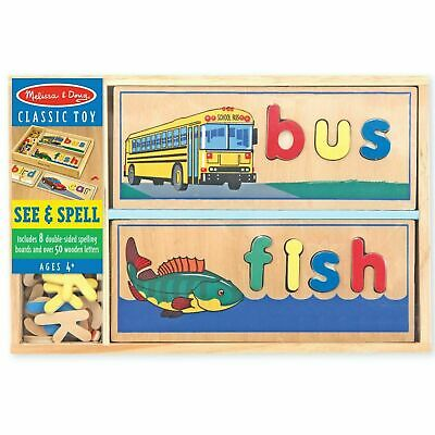 Melissa & Doug Wooden See & Spell Learning Toy, Educational Play Set, 50+ Pieces • 18.51£