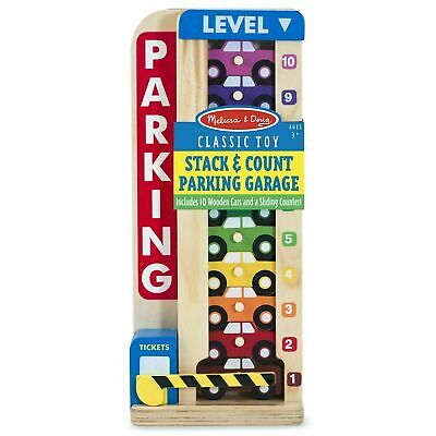 Melissa & Doug Wooden Stack & Count Parking Garage, 10 Cars, Kids Ages 3 Years + • 14.80£