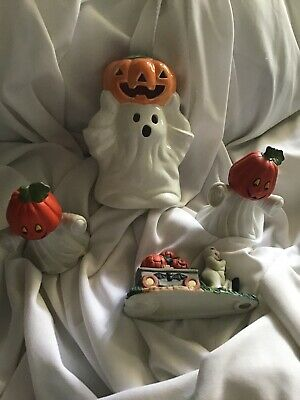 $ CDN25.03 • Buy Vintage Halloween Cute Ghost W/ Pumpkin Head Lot Of 4 Figurines Decorations