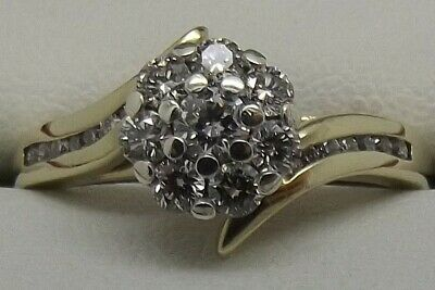 AU834 • Buy 9ct Yellow & White Gold Natural Diamond Engagement/dress Ring Size O - Val $2192
