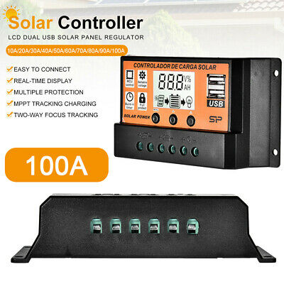 30/50/100A LCD MPPT/PWM Solar Panel Battery Regulator Dual USB Charge Controller • 9.51£