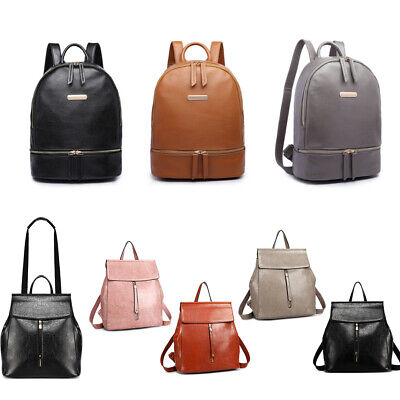 Ladies Large Travel School Backpack College Oil Wax Faux Leather Women Handbag • 14.39£