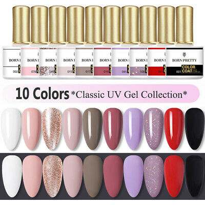 BORN PRETTY 10 Bottles Set Gel Polish Nail Art Varnish Base Matte Top Coat 10ml • 3.99£