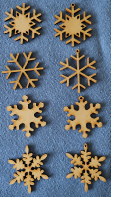 12 X Wooden MDF Christmas Snowflake Craft Shapes Blanks 4 Designs With/without H • 2.99£