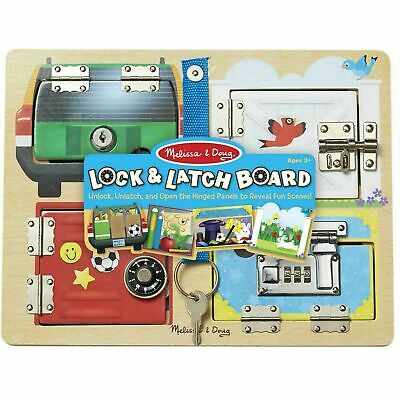 Melissa & Doug Lock & Latch Board - Wooden - Motor Skills - Kids Ages 3 Years + • 15.54£