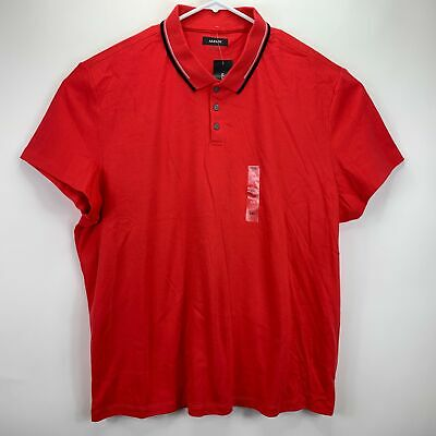 $19.97 • Buy Alfani Mens Classic Fit Tipped Polo Shirt Red 3XL