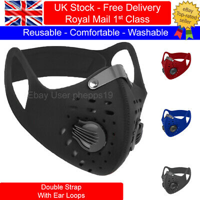 Sports Face Masks - Reusable Breathable Double Filter & Neck Strap- PM2.5 Filter • 6.49£