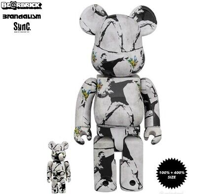 $438.99 • Buy Medicom Bearbrick Banksy Flower Bomber 100+400% Set US Seller Fast Ship