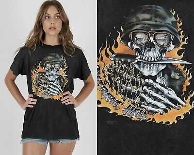 $ CDN127.35 • Buy Vtg 3D Emblem Just Brass Motorcycle Biker Retreat Hell Skull Thin Tee T Shirt L