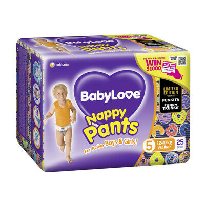 AU17.85 • Buy 25Pk Babylove Unisex Stretchy Fit & Soft Walker Nappy Pants Size 5 12-17Kg