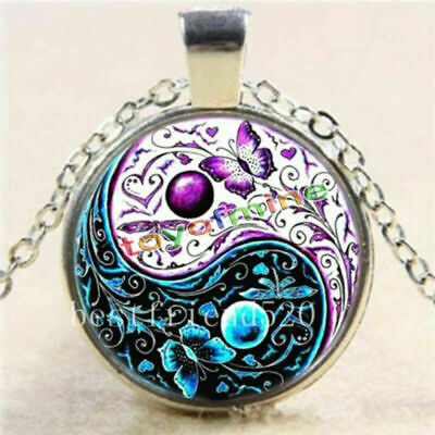 AU6.12 • Buy Ying Yang Butterfly Pendant Tibet Silver Chain Necklace Cabochon Glass Jewelry