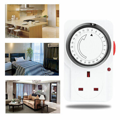 24 Hour Timer Cycle Electrical Mechanical Time Wall Plug Switch Timer Socket • 7.85£