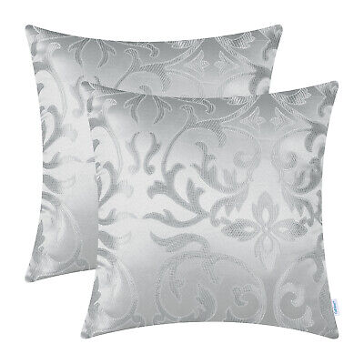 $ CDN23.49 • Buy 2Pcs Silver Gray Jacquard Floral Cushion Covers Pillows Shell Home Decor 45x45cm