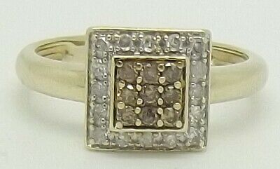 AU474 • Buy Solid 9ct Yellow Gold Natural Diamond Dress Ring - Size M
