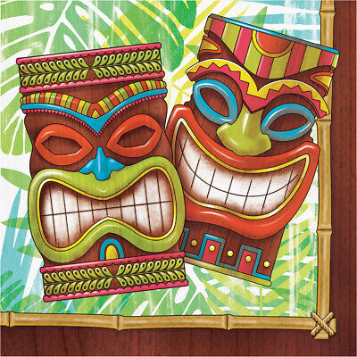 16 X Tiki Time Hawaiian Party Paper Napkins Summer Tropical Luau Party Serviette • 3.50£