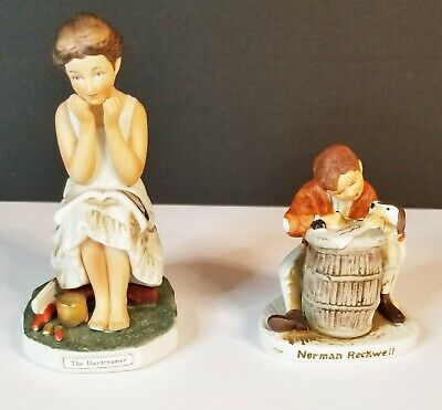 $ CDN24.13 • Buy Lot Of 2 Norman Rockwell Figurines Daydreamer Love Letter Preowned Dave Grossman