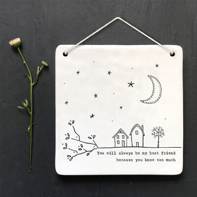 You Will Always Be My Best Friend - East Of India White Porcelain Picture  NEW • 6.25£