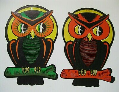 $ CDN19.80 • Buy (2) Vintage Halloween Die-cut Haunted Owls Wall Decoration *used* *made In Usa*