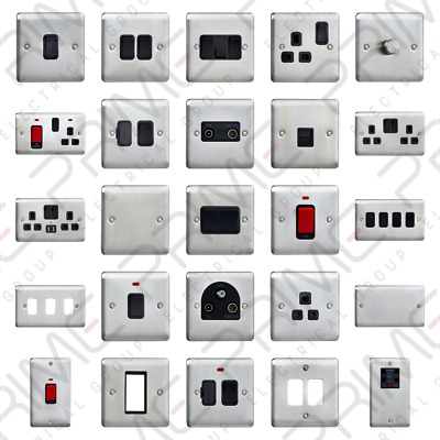 Deta Brushed Stainless Steel Chrome Light Switches Sockets USB Grid Switch Data • 9.60£