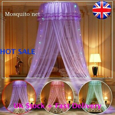 NEW LED Light Lace Princess Dome Mosquito Net Mesh Bed Canopy Bedroom Decor UK • 9.99£