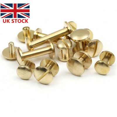 10 X Belt Screw Brass Rivets Stud Head Leather Craft Chicago Nail Wallet 4/6/8mm • 3.89£